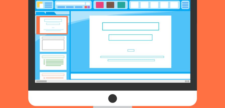 Bildschirm mit Präsentationsprogramm